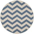 Safavieh Indoor/ Outdoor Courtyard Blue/ Beige Rug (7'10 Round)