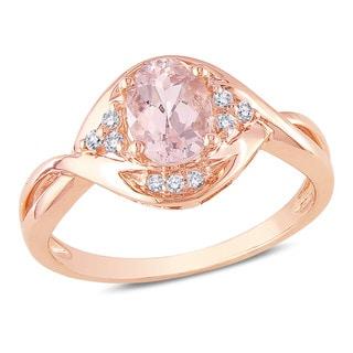 Miadora 10k Rose Gold 4/5ct Morganite and 1/10ct TDW Diamond Ring (H-I, I2-I3)