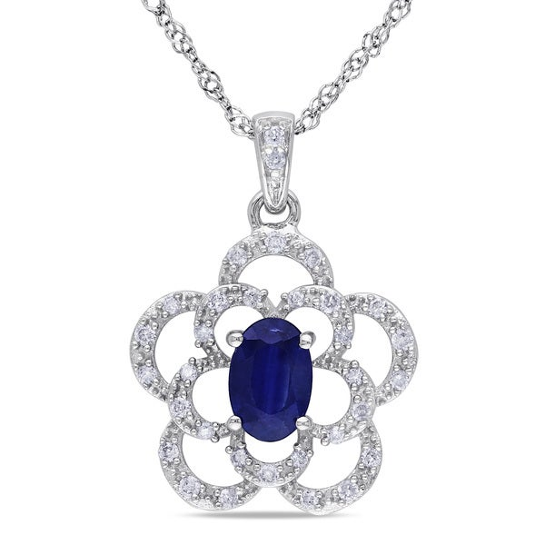 Miadora 14k White Gold Sapphire and 1/6ct TDW Diamond Necklace (G-H, I1-I2)
