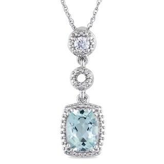 Miadora 10k White Gold Aquamarine and 1/10ct TDW Diamond Necklace (G-H, I1-I2)