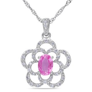 Miadora 14k White Gold Pink Sapphire and 1/6ct TDW Diamond Necklace (G-H, I1-I2)
