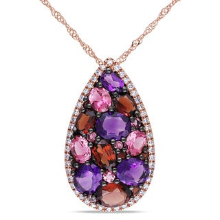 Miadora 14k Rose Gold Multi-gemstone and 1/10ct TDW Diamond Necklace (G-H, I1)