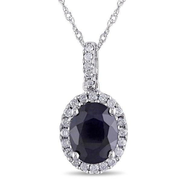 Miadora 14k White Gold Sapphire and 1/4ct TDW Diamond Necklace (G-H, I1-I2)