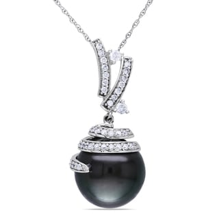 Miadora 10k White Gold Tahitian Pearl 1/3ct TDW Diamond Necklace (H-I, I2-I3)