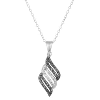 Fremada 1/10ct TDW Black and White Diamond Stripe Necklace (I-J, I1-I2)