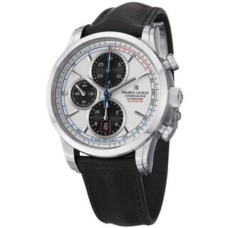 Maurice Lacroix Men's PT6288-SS001-130 'Pontos' White Dial Chrono Black Strap Watch