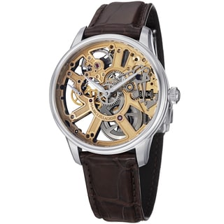 Maurice Lacroix Men's MP7228-SS001-001 'MasterPiece' Skeleton Dial Brown Strap Watch
