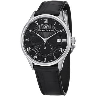 Maurice Lacroix Men's MP6907-SS001-310 'MasterPiece' Black Dial Leather Strap Watch