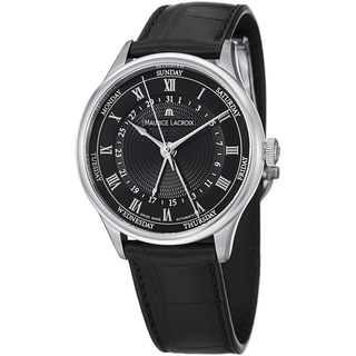 Maurice Lacroix Men's MP6507-SS001-310 'MasterPiece' Black Dial Day Date Strap Watch