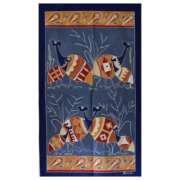 Hand-painted 'Guinea Fowls' African Tapestry (Zambia)