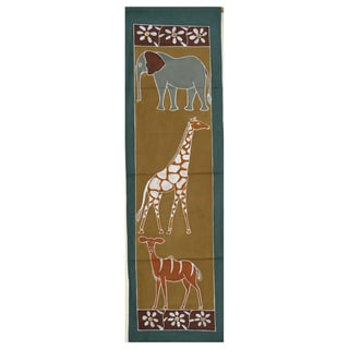Hand-painted 'Elephant, Giraffe and Antelope' Tapestry (Zambia)