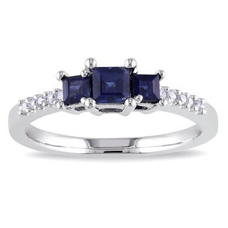 Miadora 10k White Gold 3/5ct TGW Sapphire and Diamond 3-Stone Engagement Ring