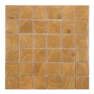 SomerTile Wood Grain Brown Porcelain Mosaic Tile (Pack of 10)