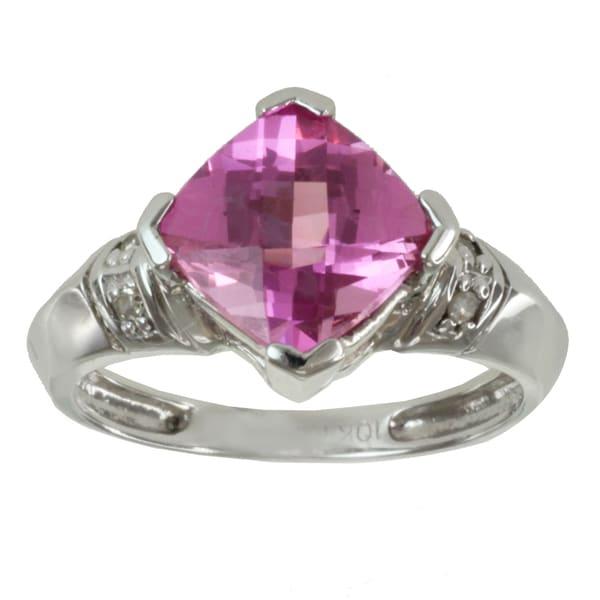 Michael Valitutti 14k White Gold Topaz and Diamond Accent Ring