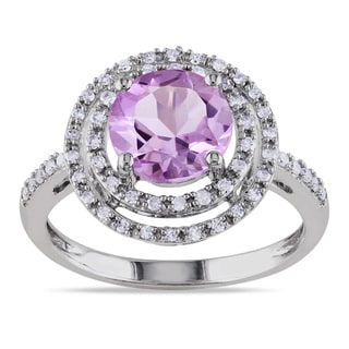 Miadora 10k White Gold Rose de France Amethyst and 1/4ct TDW Diamond Ring (H-I, I2-I3)
