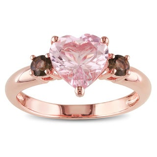 Miadora Rose Plated Silver 1 7/8ct TGW Morganite and Smokey Quartz Heart Ring