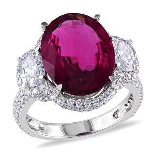 Miadora Signature Collection 14k White Gold Rubelite and 2 1/10ct TDW Diamond Ring (G-H, SI1-SI2)