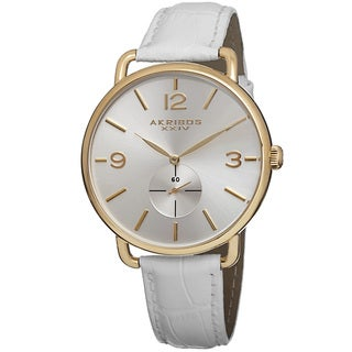 Akribos XXIV Women's Slim Sunray Dial Leather White Strap Watch
