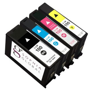 Sophia Global Remanufactured Ink Cartridge Replacement for Lexmark 100 (1 Black, 1 Cyan, 1 Magenta, 1 Yellow)