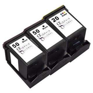 Sophia Global Remanufactured Ink Cartridge for Lexmark 50 and Lexmark 20 (2 Black, 1 Color)