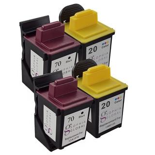 Sophia Global Remanufactured Ink Cartridge for Lexmark 70 and Lexmark 20 (2 Black, 2 Color)