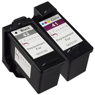Sophia Global Remanufactured Ink Cartridge for Lexmark 41 and Lexmark 42 (1 Black, 1 Color)