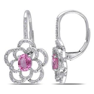 Miadora 14k White Gold Pink Sapphire 1/5ct TDW Diamond Flower Earrings (G-H, I1-I2)
