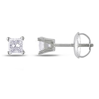 Miadora 14k White Gold 1/2ct TDW Princess-cut Diamond Stud Earrings (G-H, I1-I2)