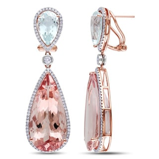 Miadora 14k Rose Gold Aquamarine, Morganite and 1 1/5ct TDW Diamond Dangle Earrings (G-H)