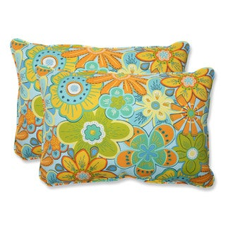 Pillow Perfect Outdoor Glynis Floral Over-sized Rectangular Throw Pillow (Set of 2)