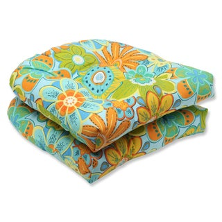 Pillow Perfect Outdoor Glynis Floral Wicker Seat Cushion (Set of 2)