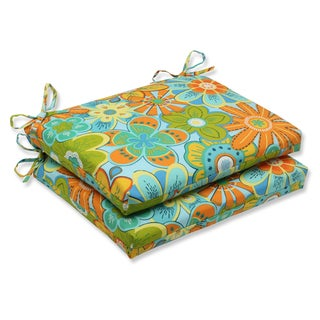 Pillow Perfect Outdoor Glynis Floral Squared Corners Seat Cushion (Set of 2)