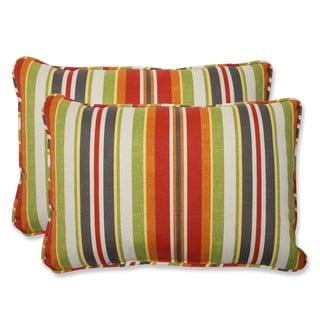 Pillow Perfect Outdoor Roxen Stripe Citrus Over-sized Rectangular Throw Pillow (Set of 2)