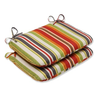 Pillow Perfect Outdoor Roxen Stripe Citrus Rounded Corners Seat Cushion (Set of 2)