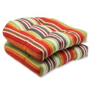 Pillow Perfect Roxen Stripe Citrus Outdoor Wicker Seat Cushions (Set of 2)