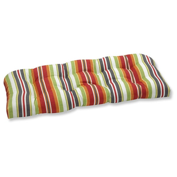Pillow Perfect Roxen Stripe Citrus Outdoor Wicker Loveseat Cushion