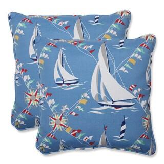 Pillow Perfect Set Sail Atlantic 18.5-inch Outdoor Throw Pillows (Set of 2)