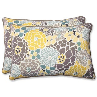 Pillow Perfect Full Bloom Over-sized Rectangular Outdoor Throw Pillows (Set of 2)