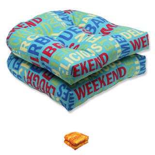 Pillow Perfect Grillin Wicker Seat Outdoor Cushions (Set of 2)