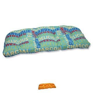 Pillow Perfect Grillin Wicker Loveseat Outdoor Cushion