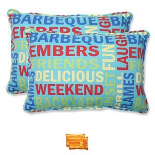 Pillow Perfect Grillin Over-sized Rectangular Outdoor Throw Pillows (Set of 2)