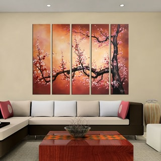 Hand-painted 'Plum Blossom' 5-piece Oil Painting on Canvas