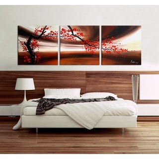 Hand-painted 'Red Plum Blossom' 3-piece Canvas Art Set