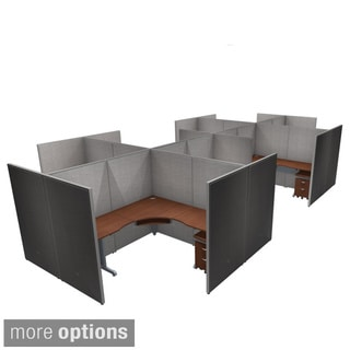 OFM Grey/ Cherry Privacy Panel 8-person Cubicle Work Station with Drawers