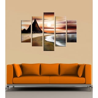 Hand-painted 'Beach Sunset' 5-piece Canvas Art Set