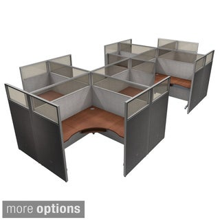 OFM Grey/ Cherry Privacy Panel 8-person Cubicle Work Station