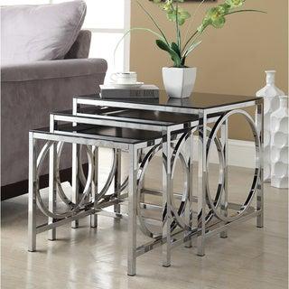 Chrome Black Glass Nesting 3-piece Side End Table Set