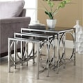Chrome Black Glass Nesting 3-piece Side End Table Set