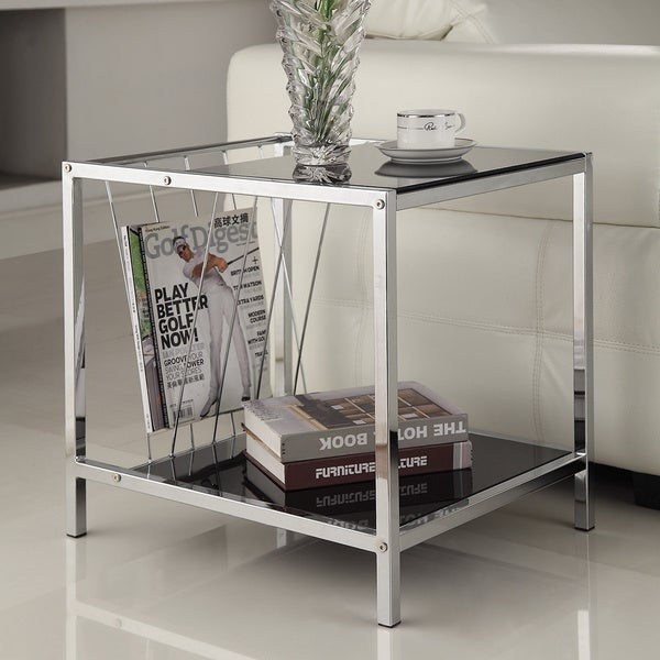 Chrome Finish Chair Side End Table with Magazine Holder