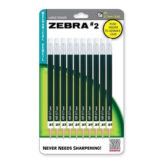 Zebra Mechanical Pencil #2 HB 0.7mm Lead Black Barrel (Pack of 10)